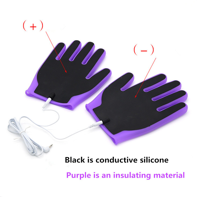 <font><b>electro</b></font> Shock Silicone <font><b>Gloves</b></font> Breast vaginal anal Body Massage Stimulation Fetish Electric Shock Kit Adult Game <font><b>Sex</b></font> Toys erotic image