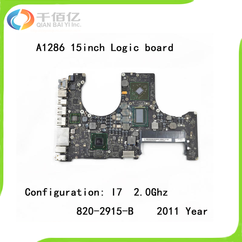 Used with 100% working Logic board for Macbook Pro Retina A1286 mother board 15'' I7 2.0Ghz 2011 year 820-2915-B ювелирные кольца art silver кольцо