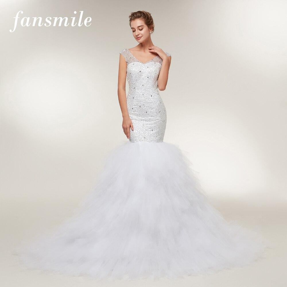Fansmile V Neck Beading Mermaid Wedding Dresses 2019 Gowns Wedding Dress Vestido De Noiva Custom made