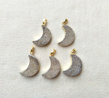 ФОТО 5pcs gold plated natural moon agate druzy geode pendant handmade gemstone drusy quartz charms jewelry making necklace pd253