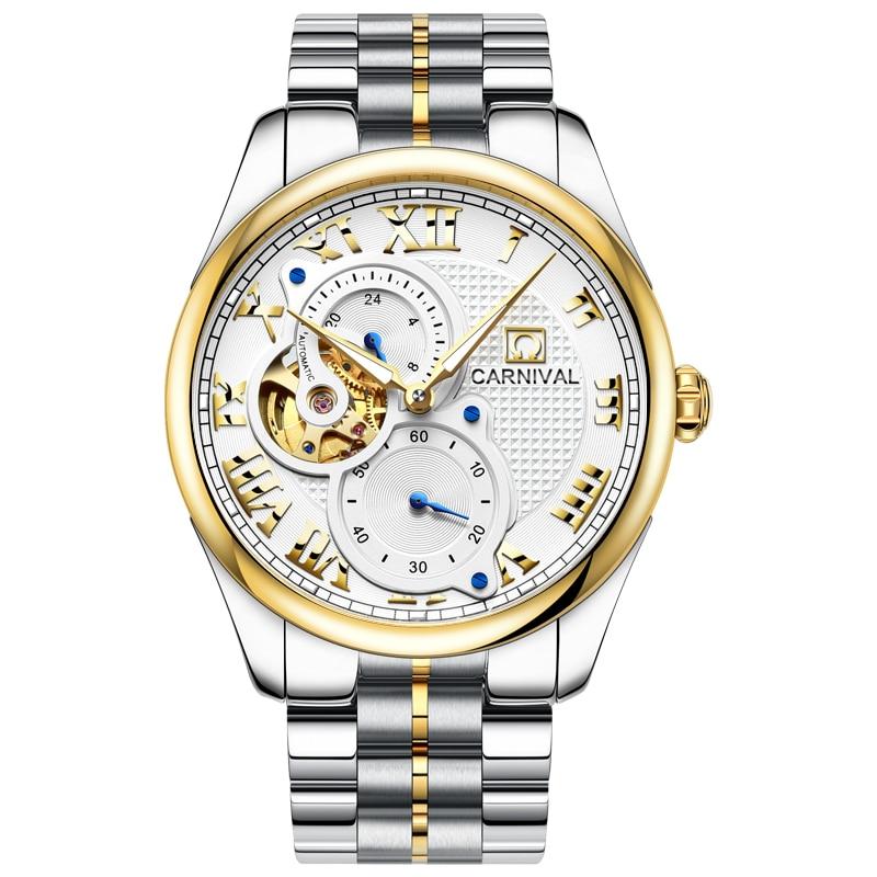 Reloj Automático de Carnaval para hombre, reloj corto, segundero pequeño, Dial Roma, números, reloj mecánico de lujo, hueco