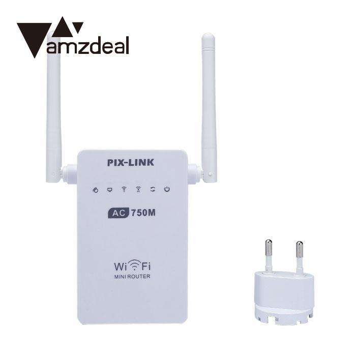 amzdeal 750Mbps WIFI Router Dual Band WiFi Wireless Routers 2.4/5GHz WiFi Wireless Extender Repeater Router Antennas White