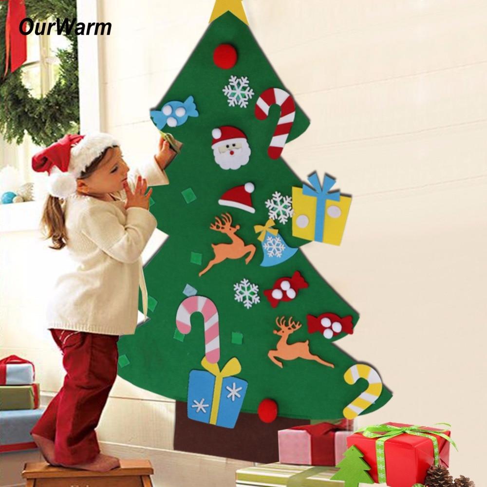 Nuestros cálidos regalos de Año Nuevo niños DIY fieltro árbol de Navidad decoraciones regalos de Navidad para 2018 adornos colgantes de pared de puerta de Año Nuevo