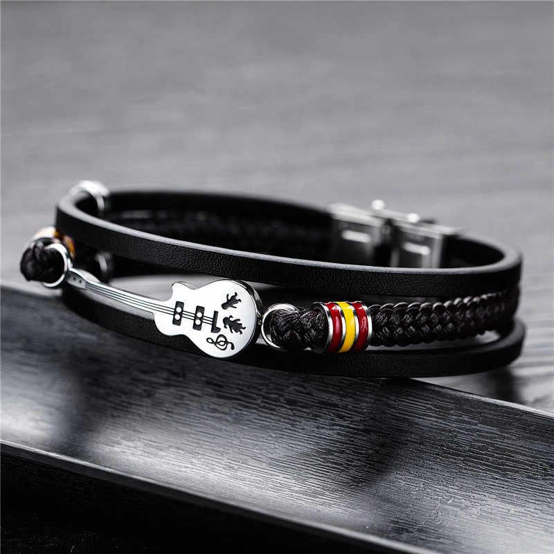 Modyle موضة الغيتار سوار سوار من الجلد الأسود حبل مضفر متعدد الطبقات المقاوم للصدأ سوار من الفولاذ للرجال مجوهرات بسيطة