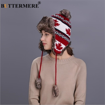 BUTTERMERE Red Russian Ushanka Hat Female Winter Warm Earflaps Fur Bomber Hats Caps Women Maple Leaf Christmas Beanies Pompom