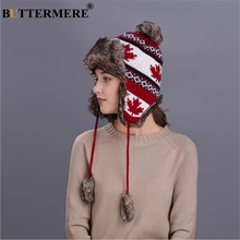 BUTTERMERE สีแดงรัสเซีย Ushanka หมวกหญิงฤดูหนาว WARM Earflaps FUR BOMBER หมวกหมวกผู้หญิง Maple Leaf Christmas Beanies Pompom