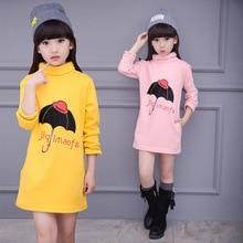 Girls Bottoming Shirts Letter Turtleneck Tee Shirts For Girls Cartoon Dresses Plus Velvet Thickening Kids Blouses 3-13Y B-001