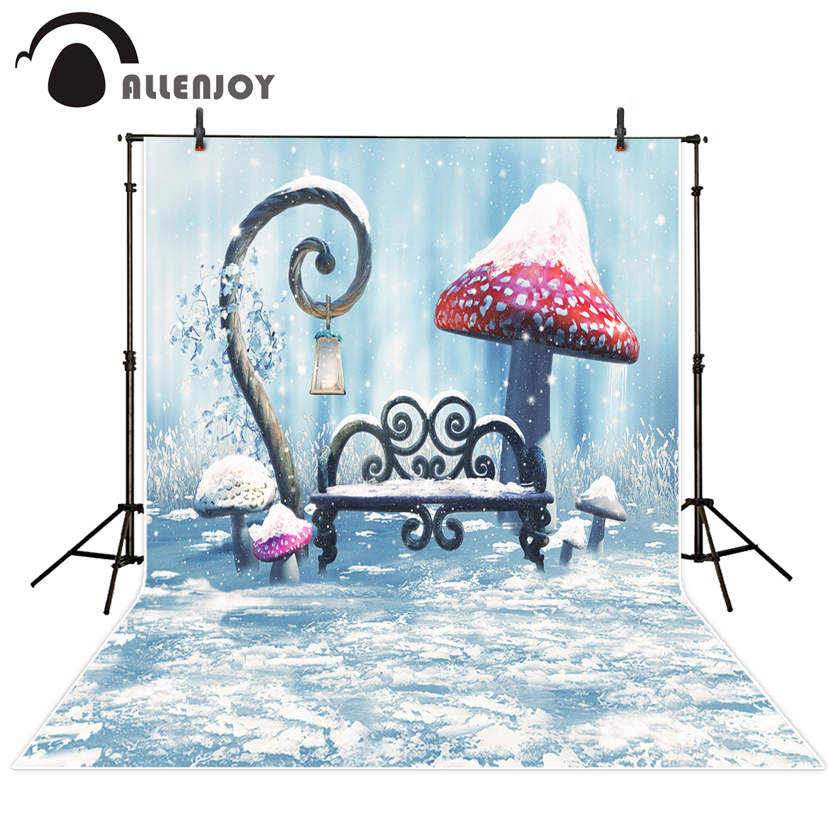 Allenjoy photographic background Fantasy fairy tale mushroom Chair snow personal customize computer printed beautiful backdrop allenjoy backdrop background wonderland