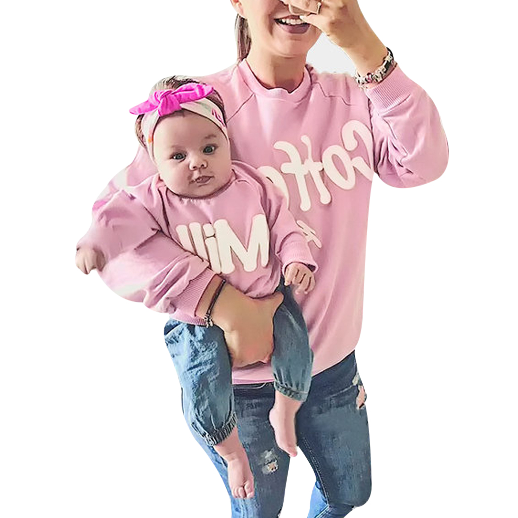 Household Matching Outfits Mom Child Letter Printed T-shirt Household Look Cotton Mommy and Youngsters Garments Household Clothes household matching, household clothes, garments household,Low-cost household matching,Excessive High quality household clothes,...