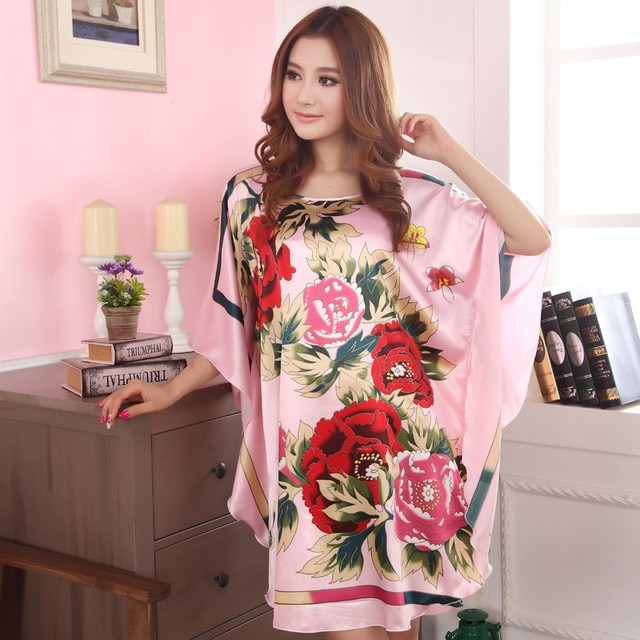Summer New Chinese Style Satin Robe Dress Women's Sexy Loose Nightgown Sleepwear Vintage Kaftan Bathrobe Gown Plus Size M07