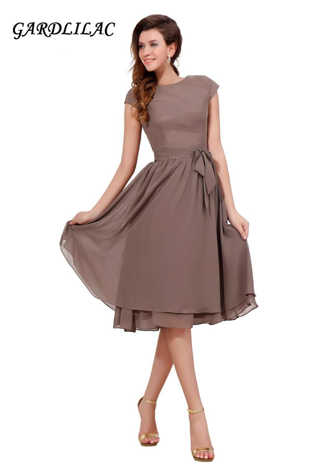 9c183d8ae8 Gardlilac Chiffon Brown Mother of the Bride Dresses Short Sleeve Wedding party  Dress Plus size Prom