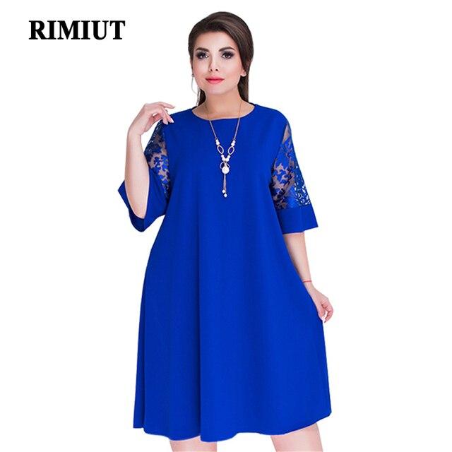 Rimiut Loose Lace Summer Dresses Big Size 2018 Plus Size Women Knee-Length  Office Dress Vintage vestidos XL-6XL Navy Blue Dress 8f3ce2454836