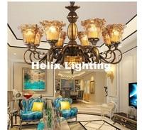 Free Shipping Anti Brass Color Chandelier Lamp 5 6 8 10 Heads Lights Modern Decora Glass