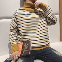 2017 Winter New Arrival Fashion Casual Stripe Hit Color Knitting Unlined Upper Garment Turtleneck Pullover Loose