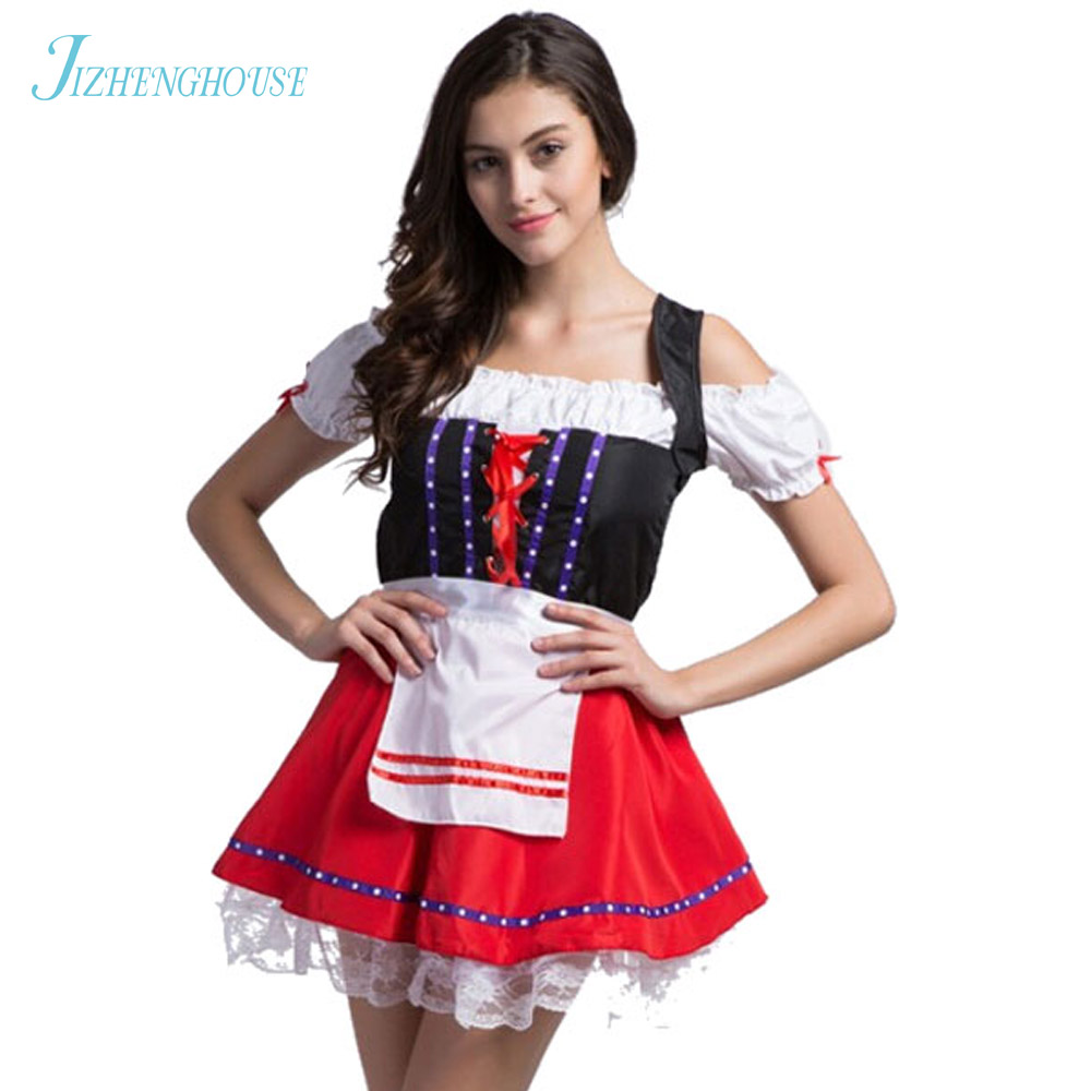 JIZHENGHOUSE Ladies Oktoberfest Costumes Germany Beer Maid Cosplay Fancy Dresses Women's Sexy Halloween Party Outfits