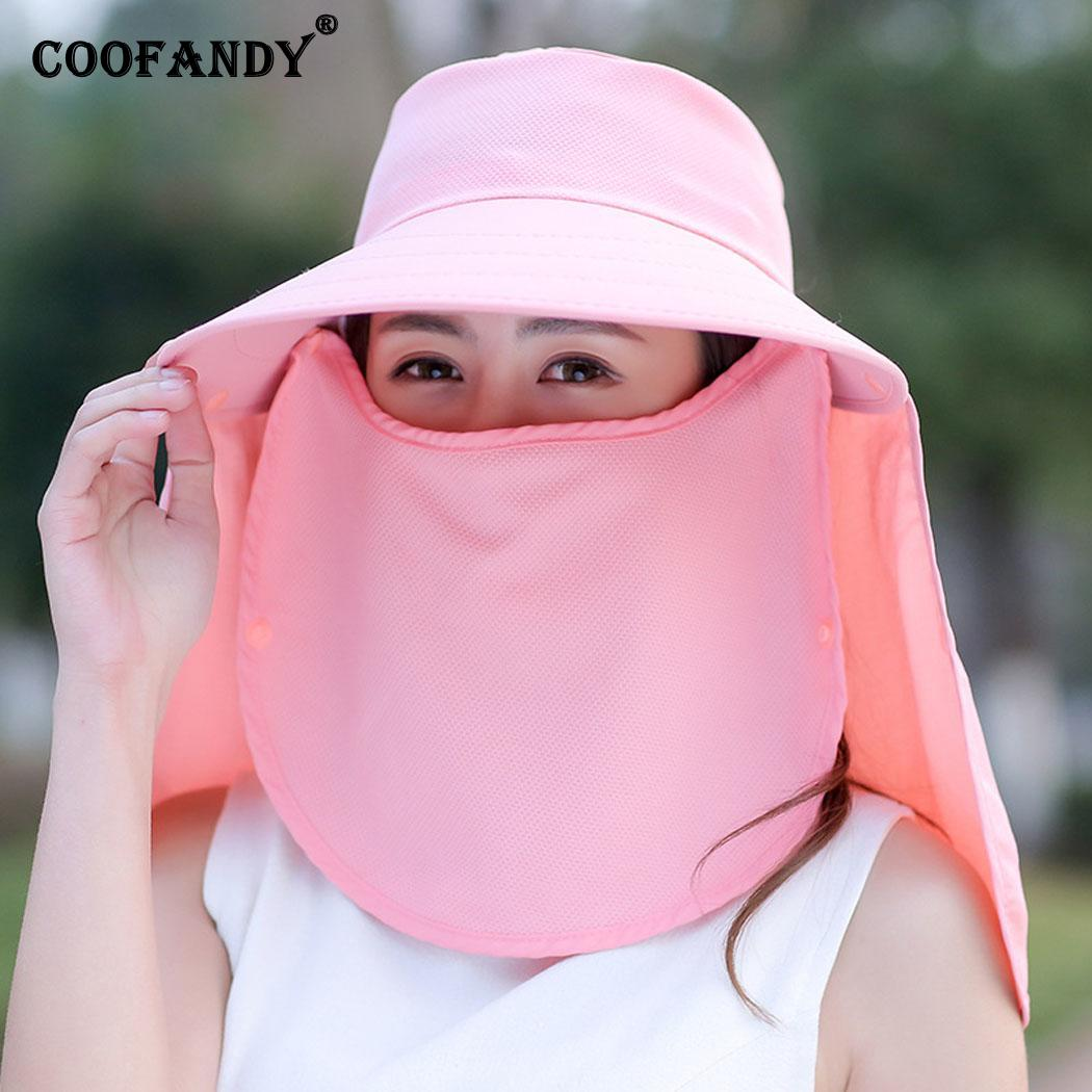 Women Sun Visor Hats With Face Solid Neck Casual Cover Summer/Spring/Summer UV Protection Fashion Beach Hat(China)