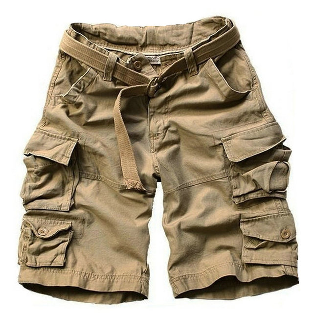 2017 New Style Summer Multi-pocket Camouflage Mens Shorts Casual Loose Knee-length Mens Cargo Shorts Within Belt S-3XL