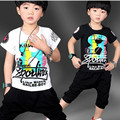 Kids Clothes Brands Children Tracksuit 2016 Baby Boy Summer Clothes Boys Clothing Set Letter Print Shirt Pant 2 Pcs Set Kids Set