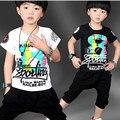 Niños ropa marcas de los niños chándal 2016 del bebé del verano de la ropa los niños Letter Print Shirt Pant 2 unids fijó a los cabritos