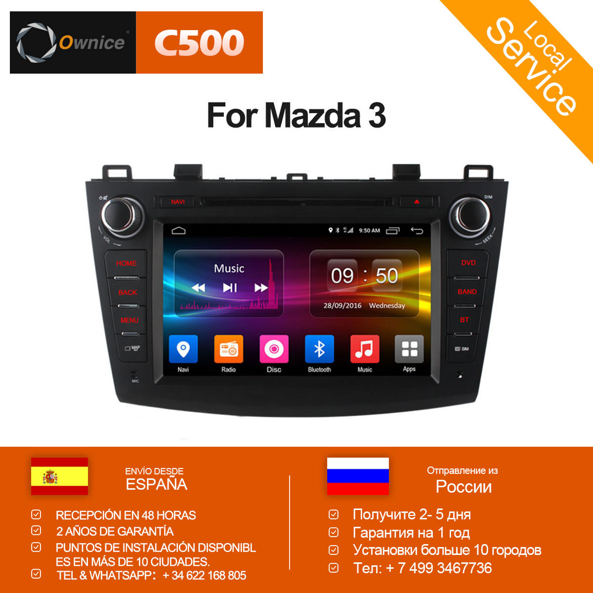 Ownice C500 Octa 8 Core Android 6.0 Car DVD player For Mazda 3 2008-2013 WIFI Radio GPS Navi OBD DVR 2GB RAM 32GB ROM Support 4G цена 2017