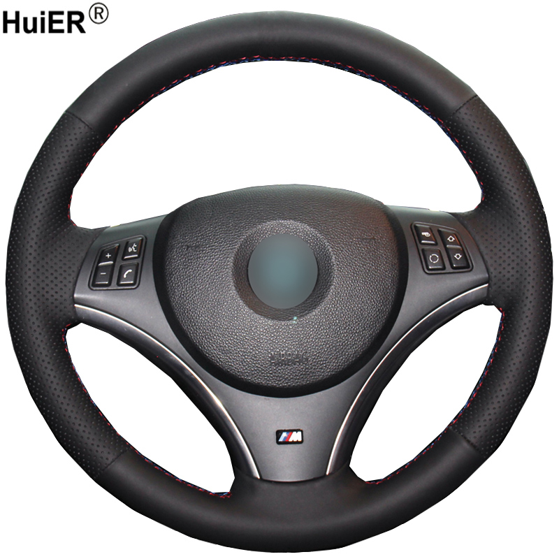 HuiER Hand Sewing Car Steering Wheel Cover Black Leather For BMW E90 320i 325i 330i 335i E87 120i 130i 120d(No Drum kits )