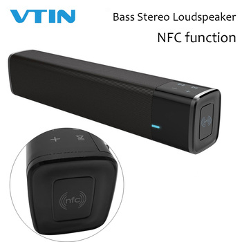 2019 VTIN Wireless Bluetooth 5.0 Speaker Portable Soundbar Super Bass Stereo Loudspeaker Long-Standby with Touch NFC Black AUX