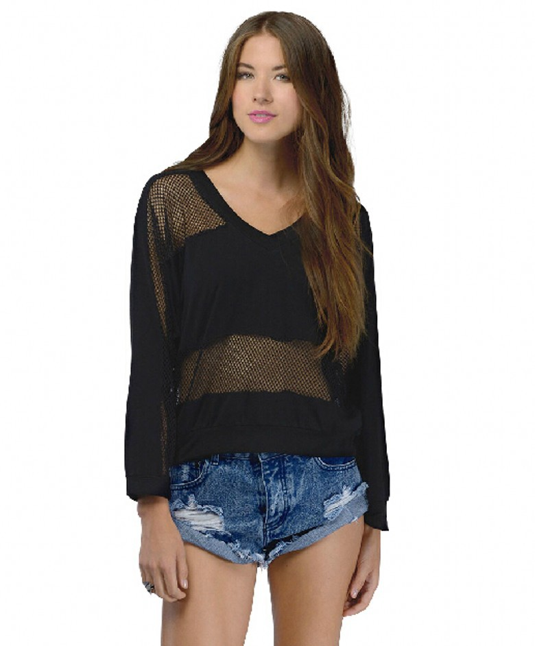 ff9868d46fe Image is loading Maurices Womens Black Lace see thru Blouse Size Source ·  Fashion Women Sexy Black Net Mesh Cut Out See Thru Top V Neck