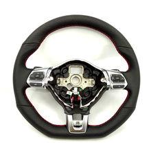 Красный кожа рук сшиты с отверстием в фортепиано краски многофункциональное рулевое колесо MK5 MK6 ПОЛО Новая Jetta Golf Tiguan Passat B6