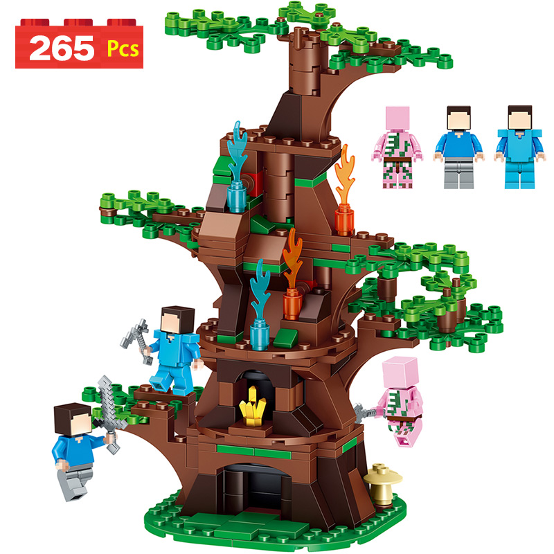 My World Figures Tree Tower Compatible With LegoINGLYS Minecrafted Toy Building Blocks Model Garden Bricks Toy Gift For Kid qunlong toys compatible legos minecraft city model building blocks diy my world action figures bricks educational boy girl toy