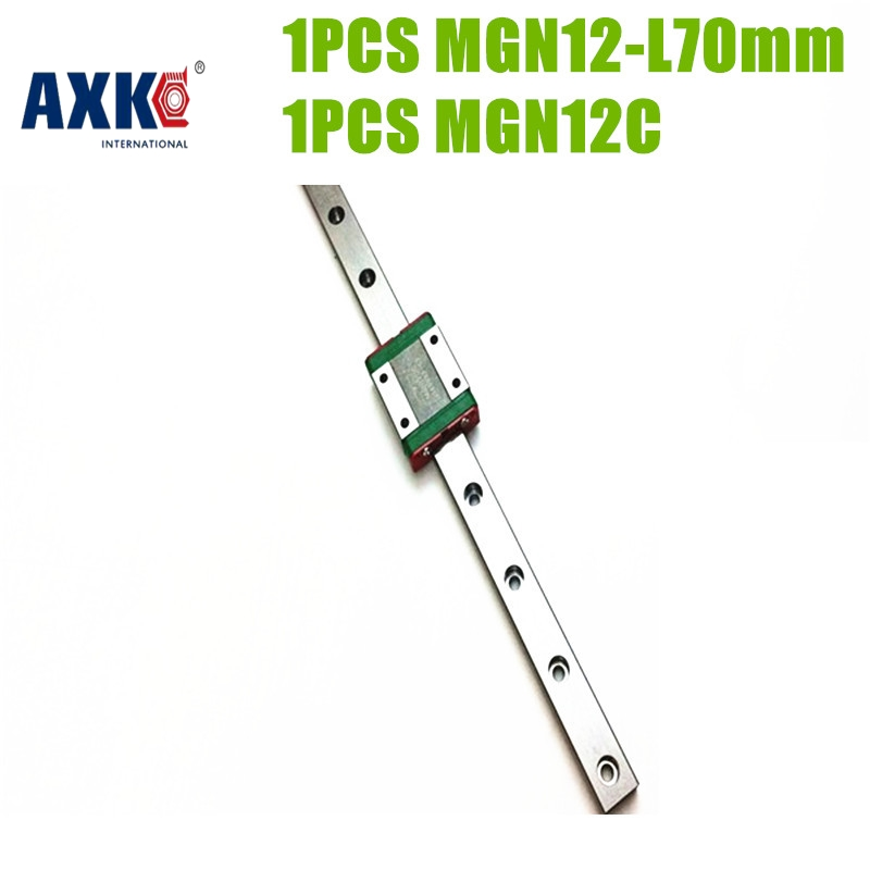 AXK free shipping 70mm lengthlinear Guide MGN12- L 70mm linear rail + MGN12C block for 3D printer parts made in china roland sj 640 xj 640 l bearing rail block ssr15xw2ge 2560ly 21895161 printer parts