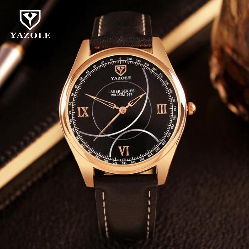 New Dress Original YAZOLE Rose Gold Genuine Leather Quartz Wristwatches Wrist Watch for Men Male Black Brown No.367 цена