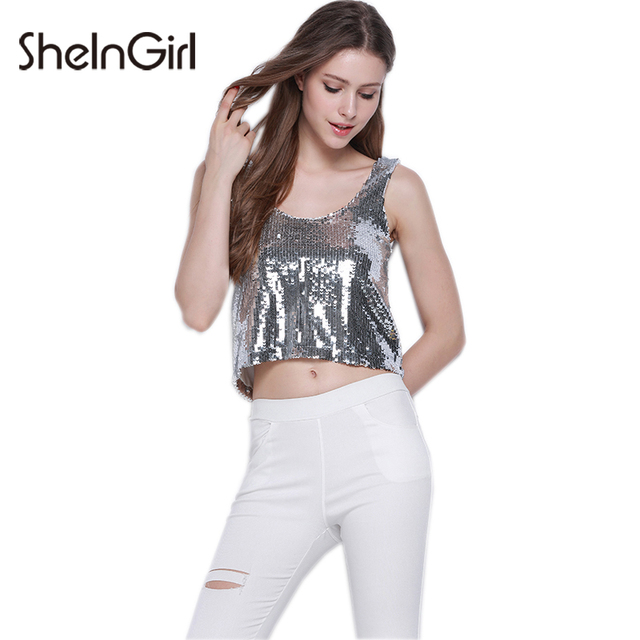 9ce026132d0135 SheInGirl Silver Tank Top Women O-neck Sleeveless Backless Basic Crop Tops  Ladies Sexy Casual Loose Summer Short Top Female