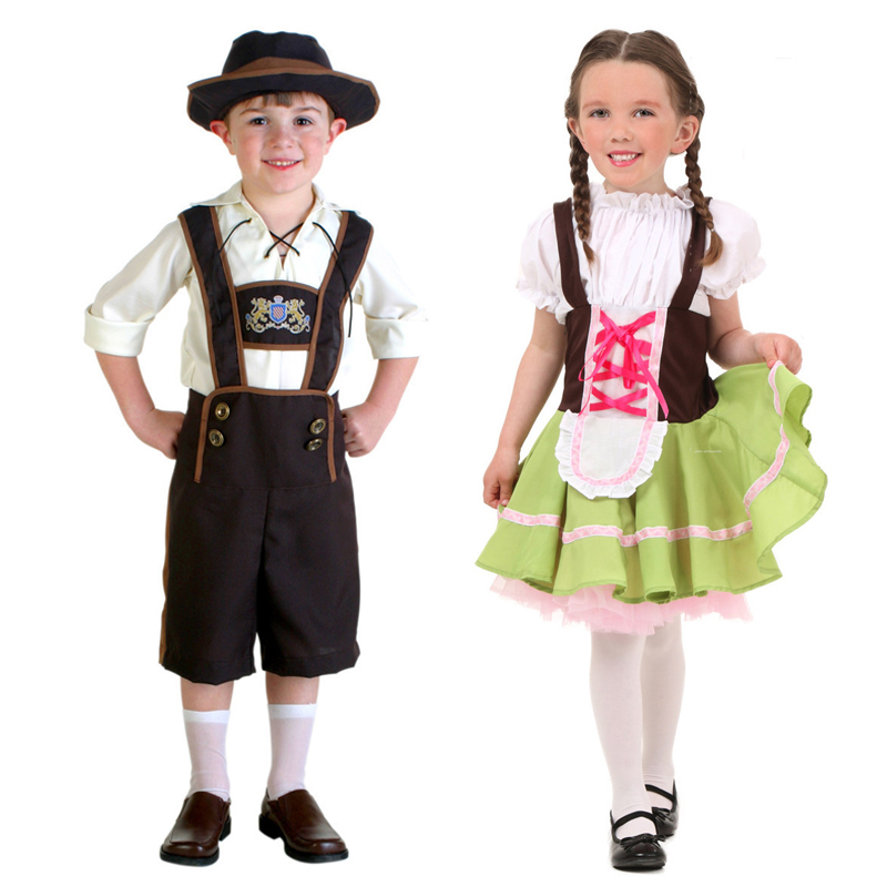 Vocole Boy Girl German Oktoberfest Beer Costume Dirndl Heidi Kids Cosplay Fancy Dress Halloween Fantasia Party Clothes