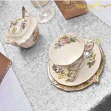 12 * 72 キラキラシルバースパンコールテーブルランナー誕生日パーティー卒業や結婚式のイベント Decoration 0925k
