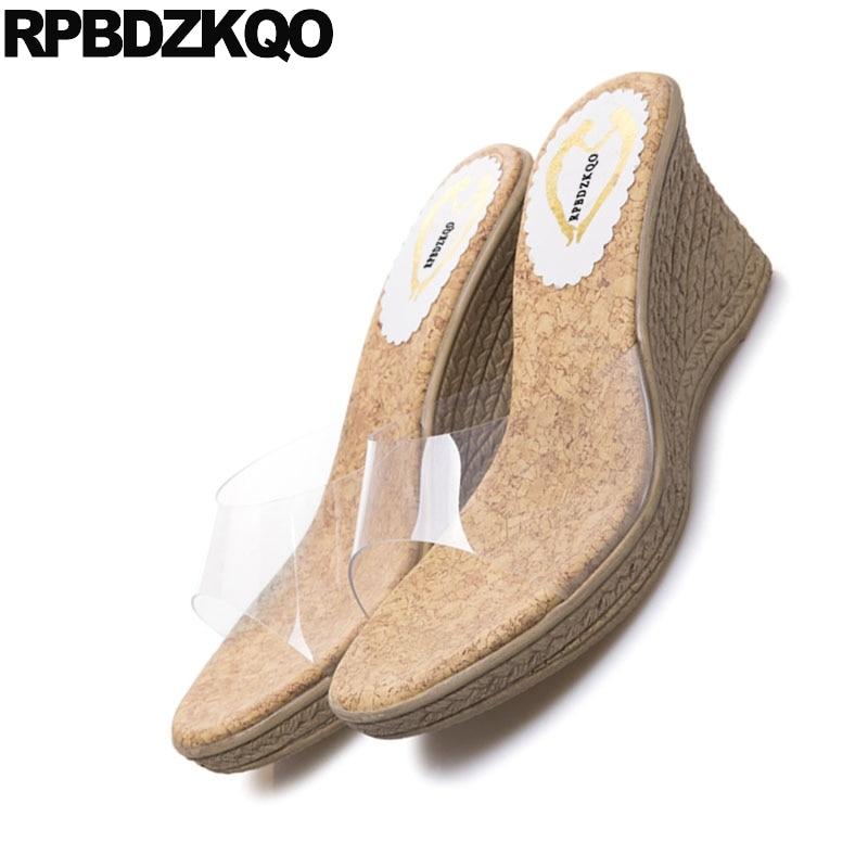 Espadrilles Cheap Women Slip On Pvc Shoes Summer Transparent 2018 Korean  Slides Rope Wedge Sandals High Heels Platform Pumps-in High Heels from  Shoes on ... 12305fef0