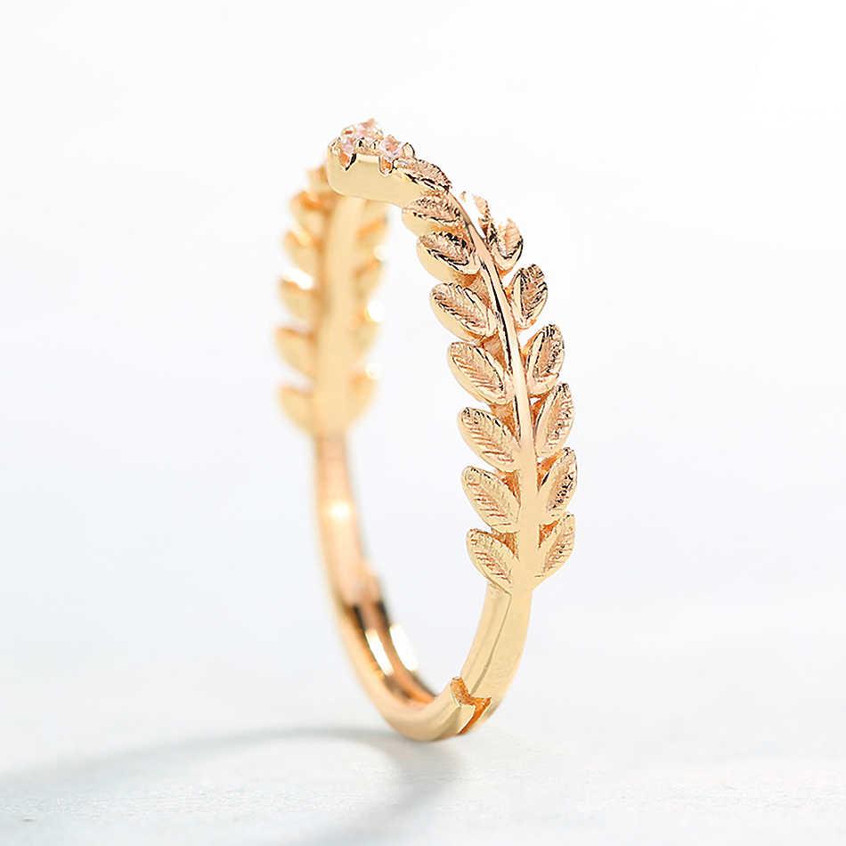 ALLNOEL Silber 925 Schmuck Mode Oliven Blatt Ring Reales Gold Überzogene Hochzeit Band Edlen Schmuck Großhandel Viele Groß Trendy Ringe