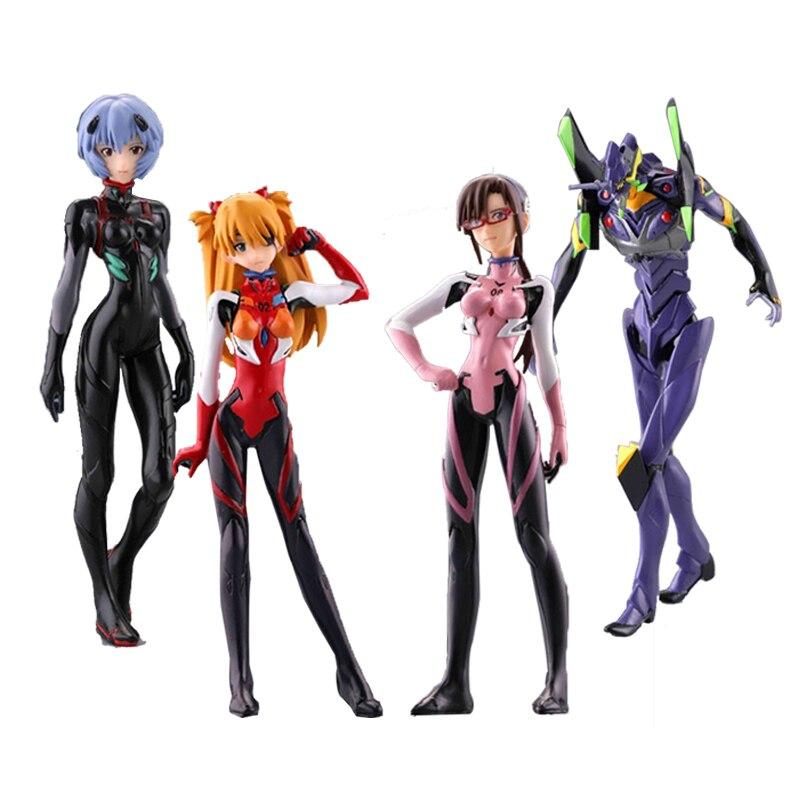 Frete Grátis EVA Neon Genesis Evangelion Rei Ayanami Makinami Asuka PVC Figuras de Ação Brinquedos 4 pçs/set EVFG003