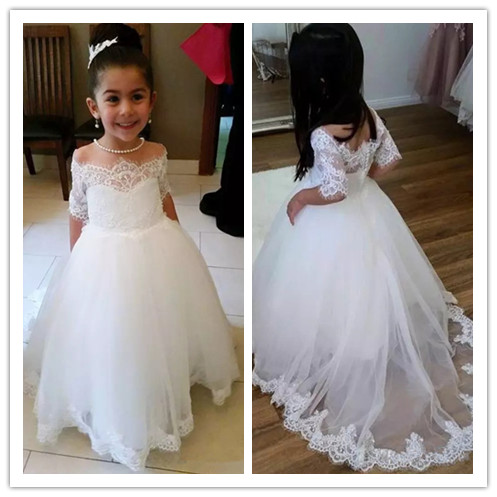 2019 Lace Flower Girl Dresses for Wedding Ball Gown half sleeve Kids Evening Dress Holy Communion