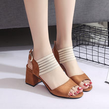 f66f43096fb9d New summer gladiator sandals women fashion high heels open toe woman roma  shoes sexy block heel buckle strap black ladies shoes