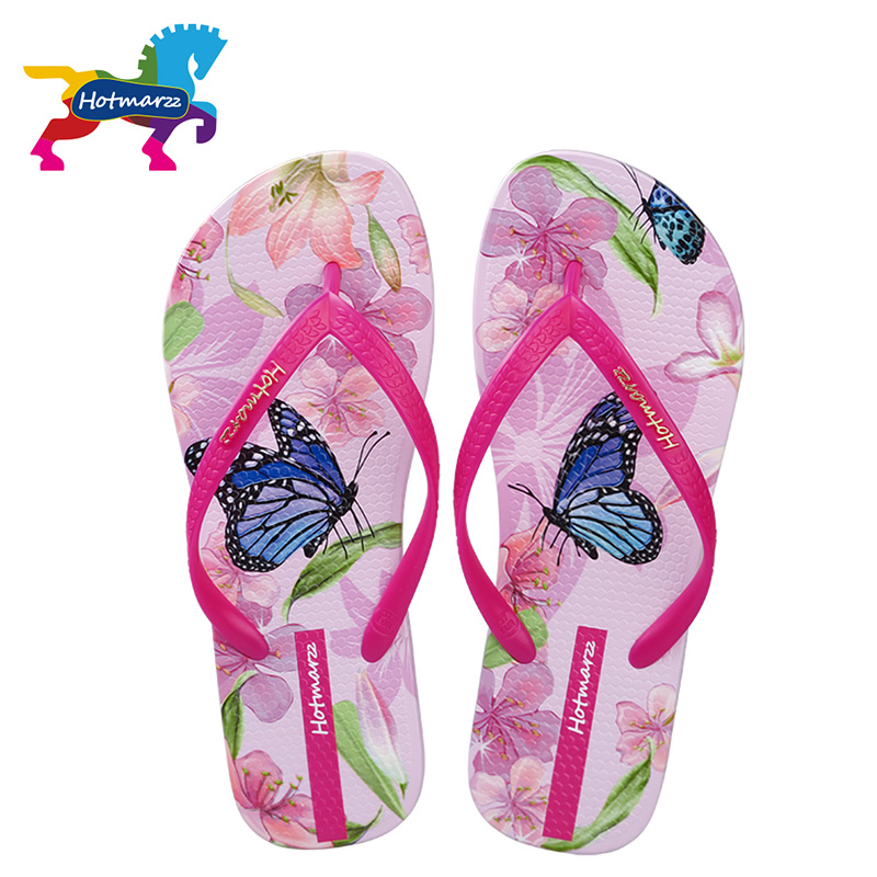 Hotmarzz Kvinnor Beach Flip Flops Butterfly Floral 2018 Sommar Mode Tofflor Ladies Comfy House Shoes Kvinna Hem Plana Sandaler