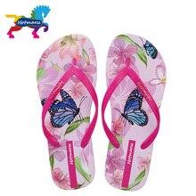 Hotmarzz kobiety plaża klapki motyl kwiatowy 2018 letnie modne pantofle damskie wygodne kapcie kobieta domu sandały na płaskim obcasie