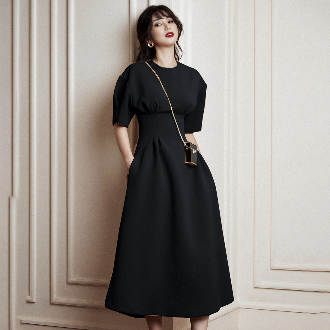 Midi A-Line Dress Women OL Clothes 2019 Work Party Night Puffy Sleeves Dresses Black Red Burgundy Vintage Holiday Summer Dress