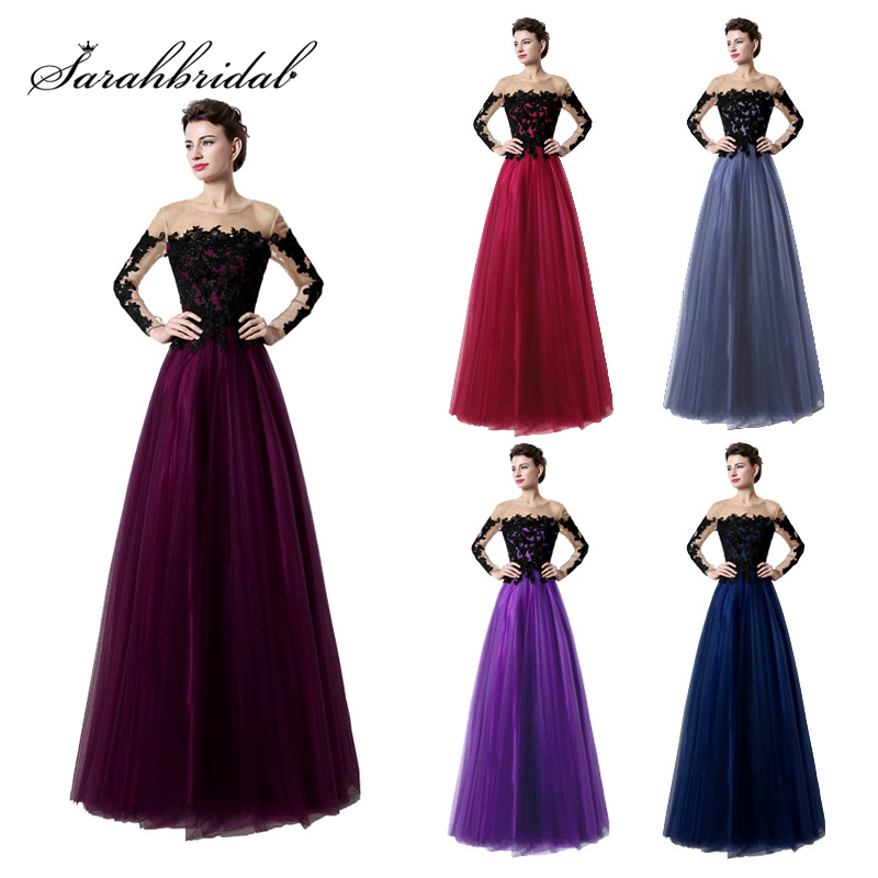 Black Lace Evening Dresses With Long Sleeves 2018 New Arrival Sexy Illusion Purple Tulle A line Evening Party Gowns OL017