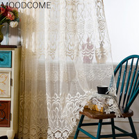 Window European Water Soluble Polyester Embroidery Curtain 4 Colors Optional Tulle Yarn Sheer For Living Room