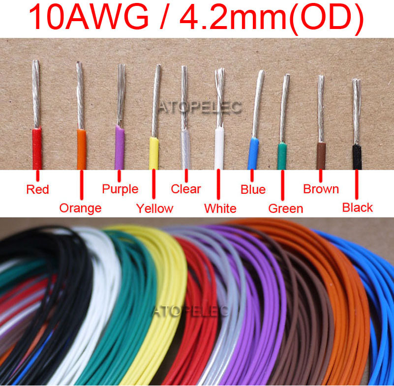 10AWG 4.2mm OD F46 FEP Silver Plated OFC Wire 300V Teflon Cable High ...