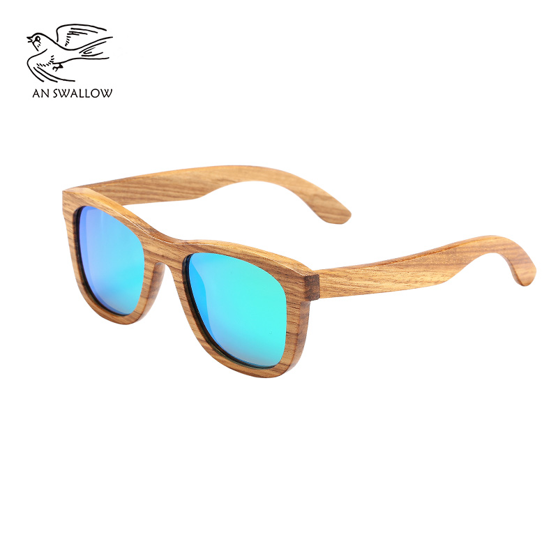 AN SWALLOW New 100% Real Zebra Wood Sunglasses Polarized Handmade Bamboo Mens Sunglass Sun glasses Men Gafas Oculos De Sol Mader 2