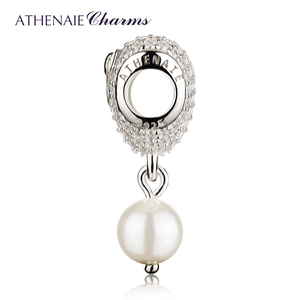 Image 3 - ATHENAIE 925 srebro z różową kokardką wkładka CZ serce delikatny róż emalia z muszlą wisiorek z koralików krople koralik Charms