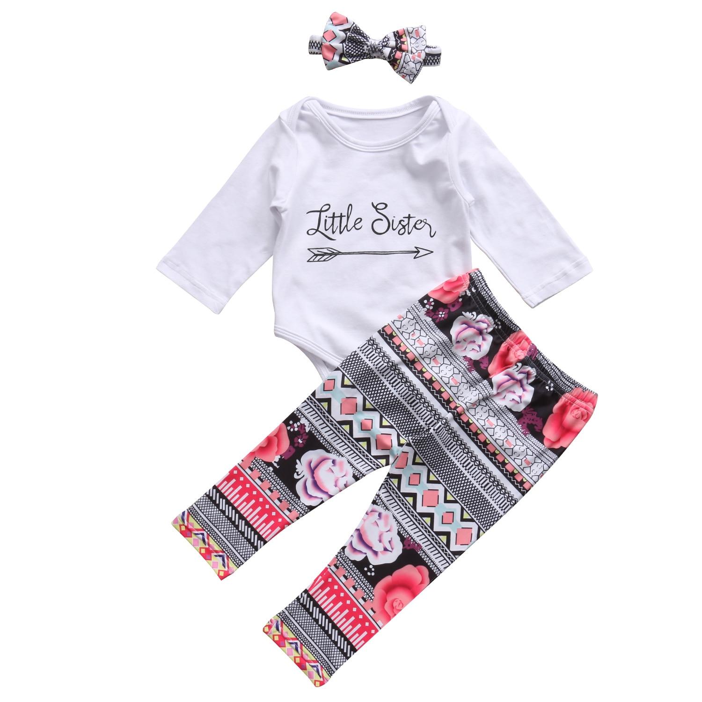 newborn 2pcs suit baby girl clothes Infant Baby Girl White Romper Jumpsuit 3 Pcs Outfit Set Clothes