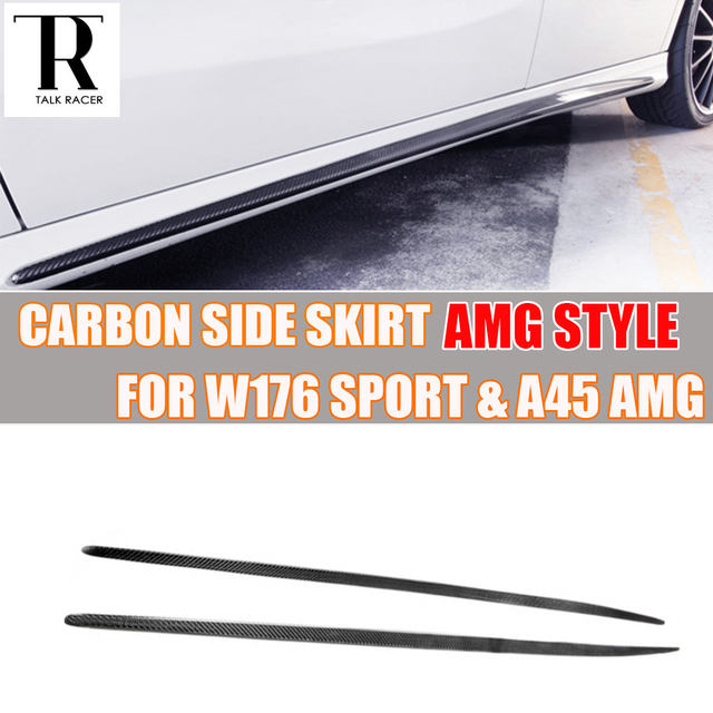 W176 R Style Carbon Fiber Side Skirt for Mercedes-Benz W176 A250 Sport Bumper A45 AMG 2013 2014 2015