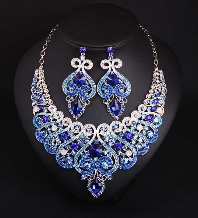 Vintage Jewelry Set Women Banquet Party Crystal Jewelry Set Royal Blue Necklace Set Bridal Engagement Wedding Jewelry Set